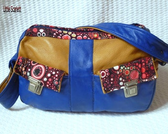 Handbag leather mustard and blue + fabrics