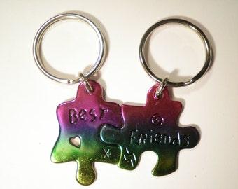 1 Set of Best Friends Rainbow Key Chains Key Rings