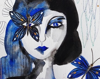Woman Art - Woman Portrait Face Butterflies - Woman Wall Art - Woman Fine Art - Portrait Original Art - Portrait Blue Home Decor - Art Face