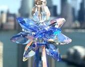 Blue Suncatcher Swarovski Crystal Suncatcher Guardian Angel Sapphire Blue Decorative Glass Ornament Crystal Ornament Tree Ornament Sparkly