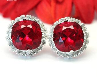 Red Earrings Stud Earrings Crystal Earrings Bridesmaid Swarovski Earrings Dark Red Earrings Deep Red Earrings Crimson Earrings Bling SI50S