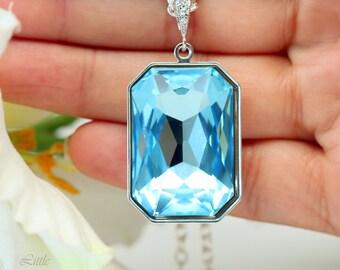 Aquamarine Blue Necklace Light Blue Pendant Swarovski Large Crystal Emerald Cut Wedding Jewelry Something Blue Bridesmaid Necklace AQ41