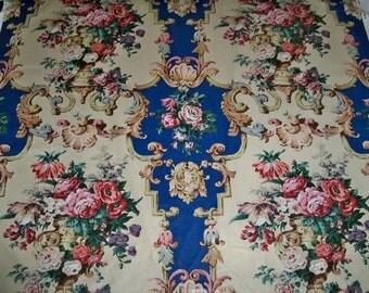 BRUNSCHWIG & FILS French Country Sudbury Hall Cotton Chintz Fabric 11 Yards Blue Multi