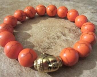 Gemstone Bracelet. Howlite Bracelet. Buddha Bracelet. Beaded Bracelet. Howlite Buddha. Yoga Jewelry.