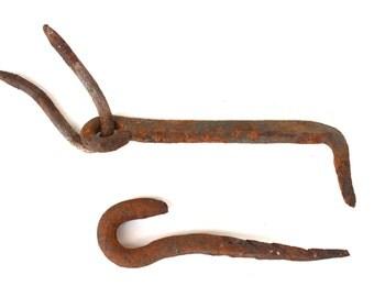 Iron Door Hook Antique Hand Forged Hook Gate Hook Cast Iron Massive Door Hook Latch Hook, Farmhouse Barn Door Hook Latch