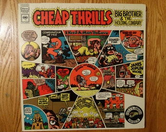 Vintage 1968 Big Brother and the Holding Company Janis Joplin Vinyl Record Album Cheap Thrills Psychedelic Rock Folk Blues San Francisco