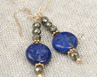 Dakota Earrings: Smooth lapis coin beads with faceted pyrite round beads and gold vermeil spacers on 14k gold filled earwire