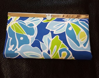 Cute little wallet - Blues and Green in abstract butterfly print