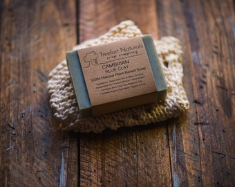 Soap Gift Set - Natural Soap, Hand knit cotton washcloth, all natural soap, Holiday gift, Gift for Her, stocking stuffer