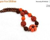 25% off Pumpkin Amigurumi toy Halloween Organic Nursing necklace Crochet Breastfeeding Sling necklace Fall jewelry