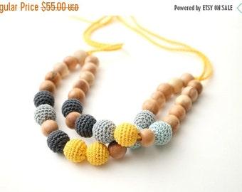 SUPER SALE Double statement nursing necklace Breastfeeding  bib necklace - gray, teal, yellow