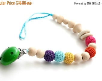 25% off Baby dummy chain Pacifier clip, Crochet wooden rattle holder, stroller dummy chain, Rainbow Teething wooden baby toy