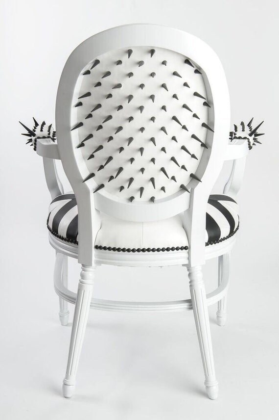black and white louis chair