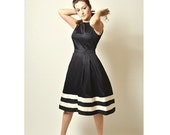 ON SALE Midi Dress, Black Dress, Cotton  Dress, Stripes, Made to Order