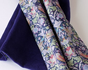 Liberty print scarf - William Morris Strawberry Thief and purple velveteen scarf