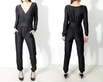 Vintage Black Spandex Jumpsuit / Black Bodysuit