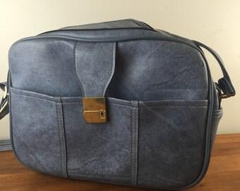 Vintage 60's Slate Blue Weekender Carry On Bag Travel Bag