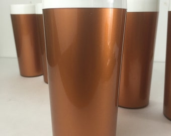 Vintage Thermo Serv Tumbler Cups Copper Plastic Thermo Serv Hot Cold Beverage Cup