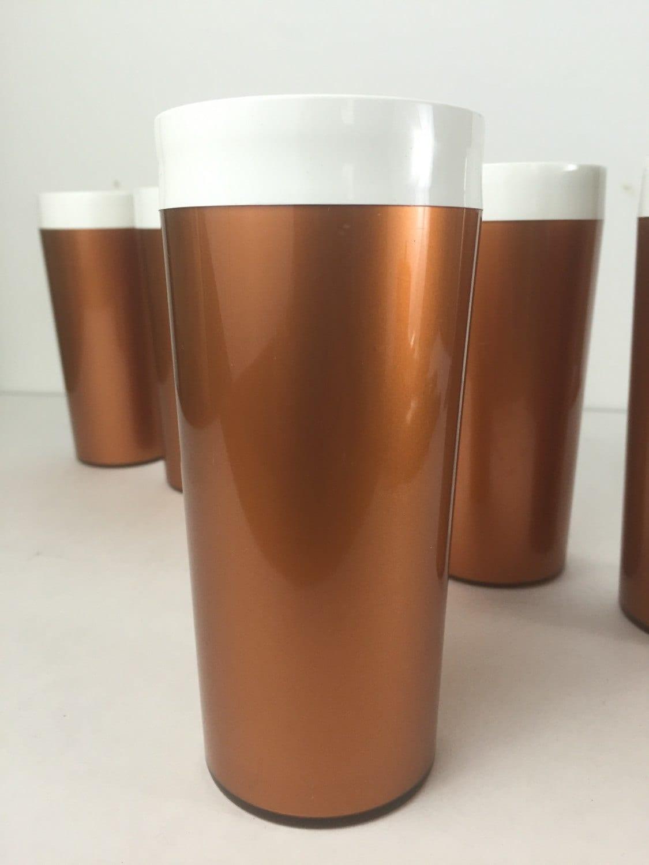 Vintage thermo serv tumbler cups copper plastic thermo serv for Copper to plastic