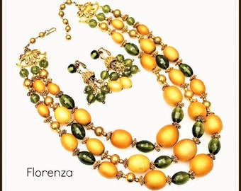 FLORENZA Necklace and Earring  - Triple strand Orange Green Beads - clip on earrings - Vintage jewelry set