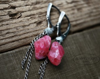 Pink Spinel Earrings Natural Stone Raw Linen Chain Earrings Rustic Boho Oxidized Silver Handcut Stones Luxe Natural Jewelry by Letemendia