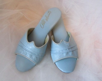 tiny SLIPPERS size 4 1/2 B ALL ABOUTS scuffs/baby blue leather/wedge heel/grosgrain trim Gs