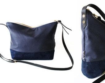 blue bag, cross body purse, leather strap handmade shoulder bags, handbag, dark blue