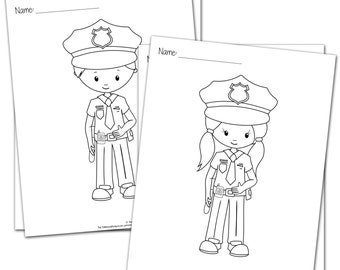 SALE Police Kids Coloring Pages Bundle