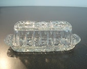 Antique Clear Glass Butter Dish