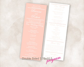 ANY COLOR Printable Wedding Program Double Sided TEMPLATE Instant Download (shown light Pink / coral)