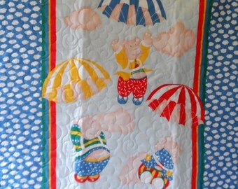 Quilt - Quilted Baby Blanket - Baby Quilt - Gender Neutral Baby Quilt for Boy or Girl - Parachuting Pigs