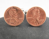 2009 Penny Cuff Links - 7th Anniversary Copper Anniversary Wedding Cufflinks