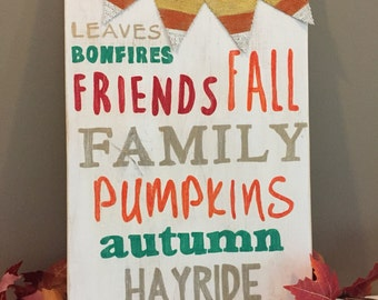 Fall sayings subway style wood sign