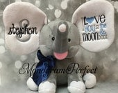 """New Exclusive Gray Personalized """"I Love You To The Moon"""" Elephant (Navy, Light Blue, and Gray)"""