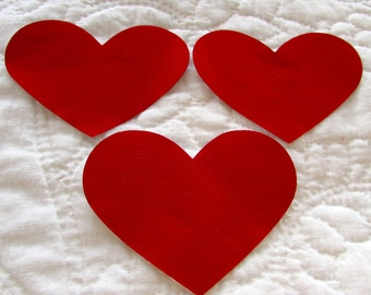 Fabric appliques sew on 16 solid red hearts dye cut