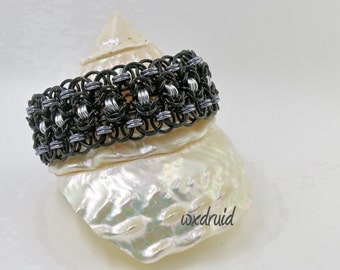 Chainmail Jewelry, Black, Ice and Silver Rondo al a Byzantine Anodized Aluminum Chainmaille Bracelet, Wide Cuff Bracelet
