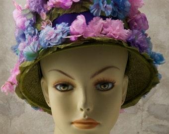 Gimbles blue floral hat. 1970s, or 60s, Blossoms galore!, pinks, blues, purples. Easter bonnet