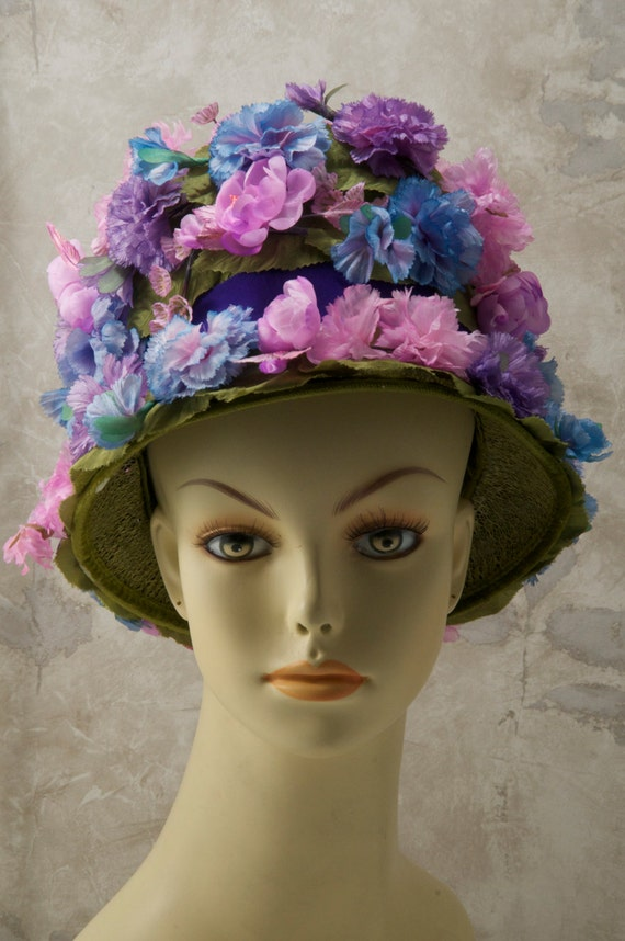 blue floral hat. 1970s, or 60s