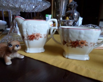 Vintage Crooksville China-Embossed Fall Colored Flowers-Red Trim Sugar Bowl and Creamer