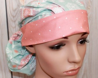 Spa Floral with Mini Dot Coral Band,Surgical Scrub Hat ,Scrub Cap,Front Fold  Ponytail
