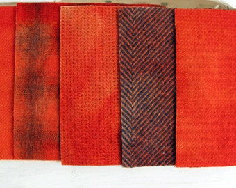 "Hand Dyed Felted Wool Fabric in Persimmon and Orange  5"" x 5""  Persimmon Wool Charm Pack of 5"