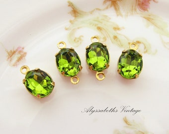 Vintage 10x8mm Oval Olivine Green Rhinestones Glass Stones Brass, Matte Black, Antique Silver & Brass Ox Drop or Connector Settings - 2