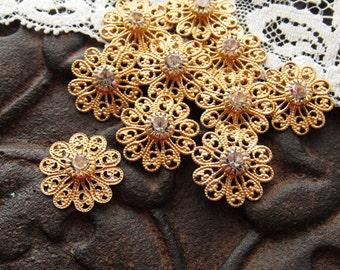 Swarovski Crystal Filigree Clear Rhinestone Flower Findings Connectors Vintage - 4