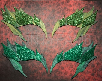 Poison Ivy Leaves Eyebrow Eye mask Dark & Ivy Green blends Uma Thurman ELF fairy Cosplay Comic Con