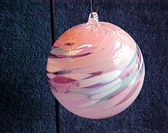 Vintage Pink Glass Ornament - Hand Crafted Spatter Blown Glass - Christmas or All Year Witches Ball -