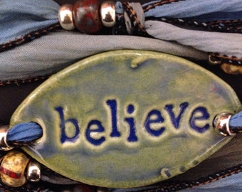 Porcelain Jewelry Inspirational Silk Ribbon Wrap Bracelet Handmade Ceramic 'believe' with Silk Ribbon and Beads Heart Toggle Closure