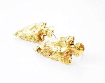 Cast Brass Arrowhead Earrings