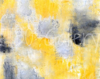 Digital Download - Different, Grey, Black and Yellow Abstract Artwork