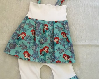 Little mermaid,ruffle short set,embroidered halter top, Boutique Style, ruffle short Set size NB 3  6 9 12 24 months, size 2 3 4 5T