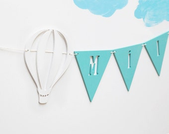 Name garland, hot air balloons, personalised banner, wooden bunting, nursery decor